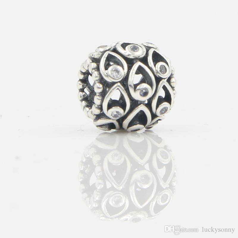 Authentic 925 Sterling Silver Bead Pear Em Forma de Charme Antiuque Estilo Oco Beads Fit Mulheres Pandora Pulseira Pulseira DIY Acessório Jóias