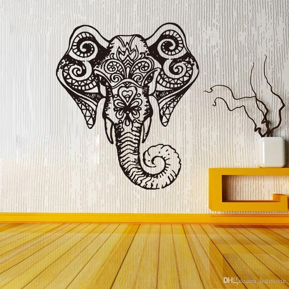 Elephant indian pattern yoga cute vinyl wall decal sticker art see larger image amipublicfo Choice Image