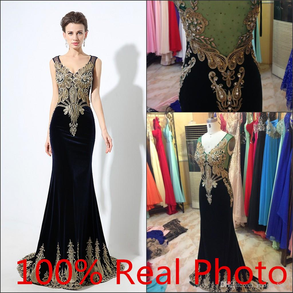 2016 Sparkly Luxury Gold Crystal Beaded Embroidery Mermaid Evening ...