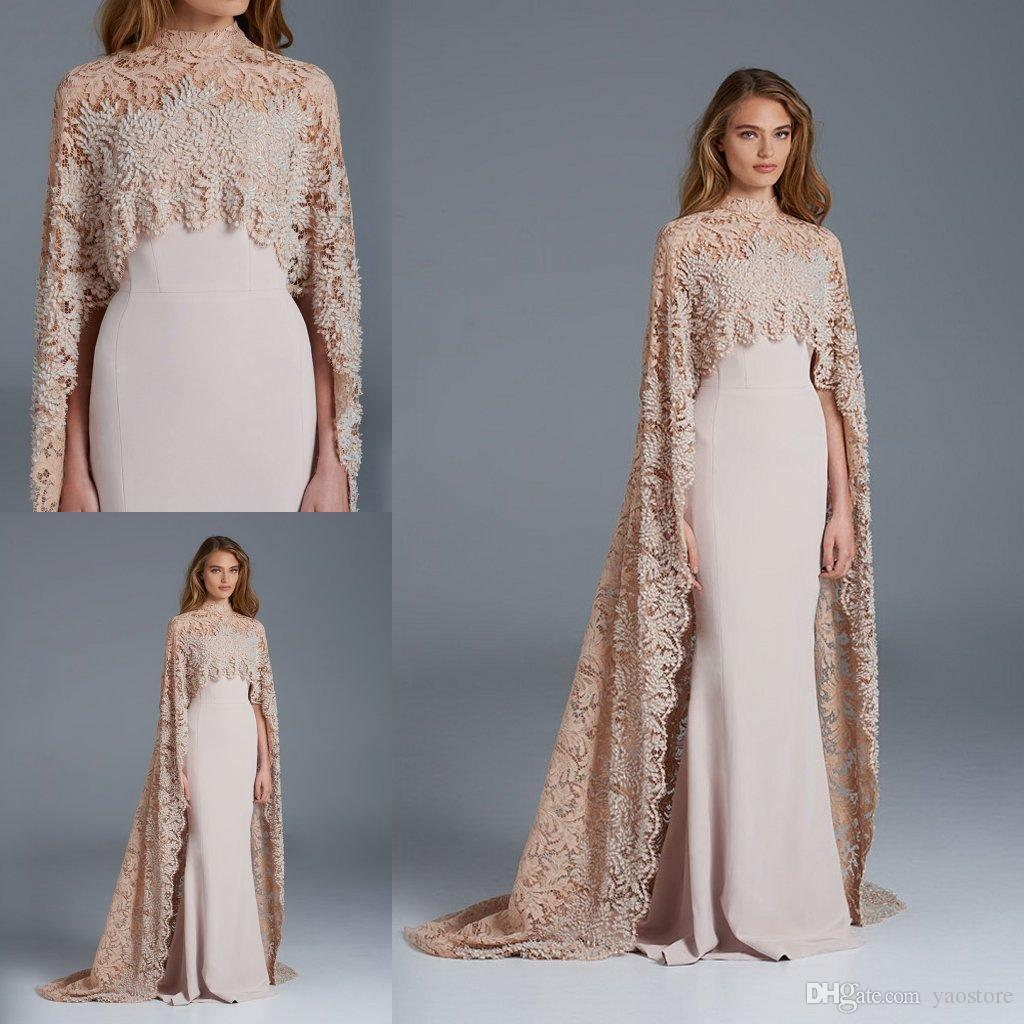 9cd5adb794d 2016 Paolo Sebastian Prom Dresses With Cape High Neck Champagne Lace  Appliques Vintage Satin Long Party Dress Formal Evening Gowns Purple  Evening Dresses ...