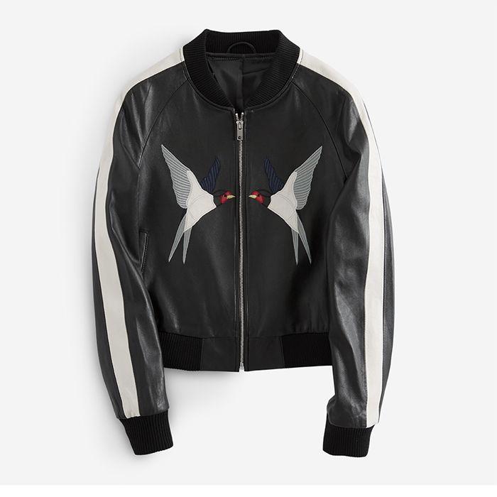 Women'S Sheepskin Leather Jacket Elegant Swallow Embroidery ...