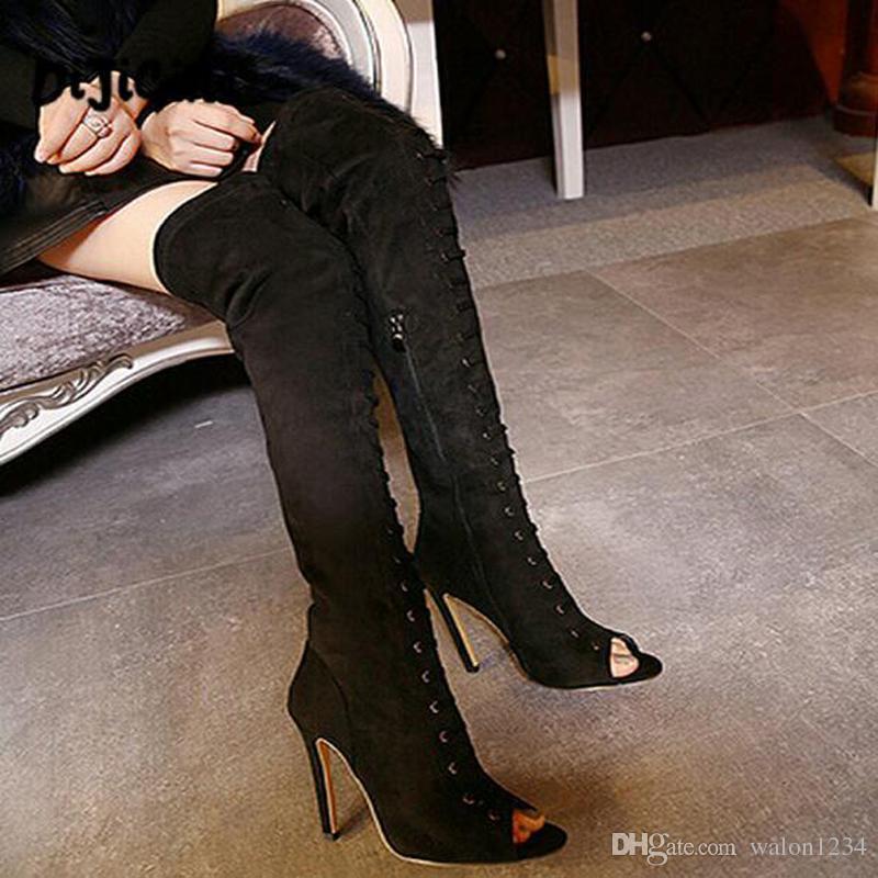 Frauen High Heels Overknee Stiefel Fashion prom Schuhe Damen Oberschenkel hohe Stiefel schwarze Frauen Pumpen Peep Toe lange Stiefel