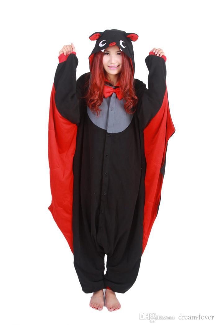 SS Cartoon Cute Animal Vampire Bat Adult Unisex Onesie for Women Men Coral jumpsuit Cosplay Pajamas Christmas Party Dress