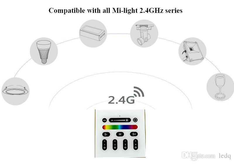 2.4 جرام الصمام تحكم rgbw مي ضوء اللاسلكية rf باهتة التبديل 4 منطقة جدار جبل لوحة مفاتيح ل millight سلسلة أضواء led مصباح لمبة