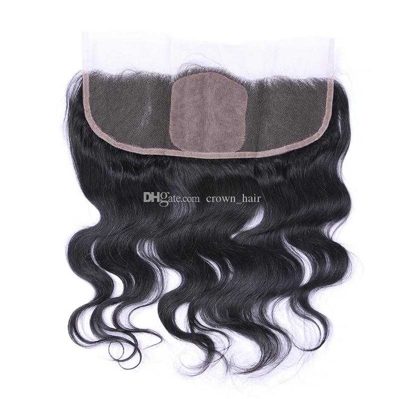 Hot Sale Body Wave Virgin Human Hair Bundles 10-30 Inch With Silk Base Lace Frontal Closure 13X4 For Black Woman