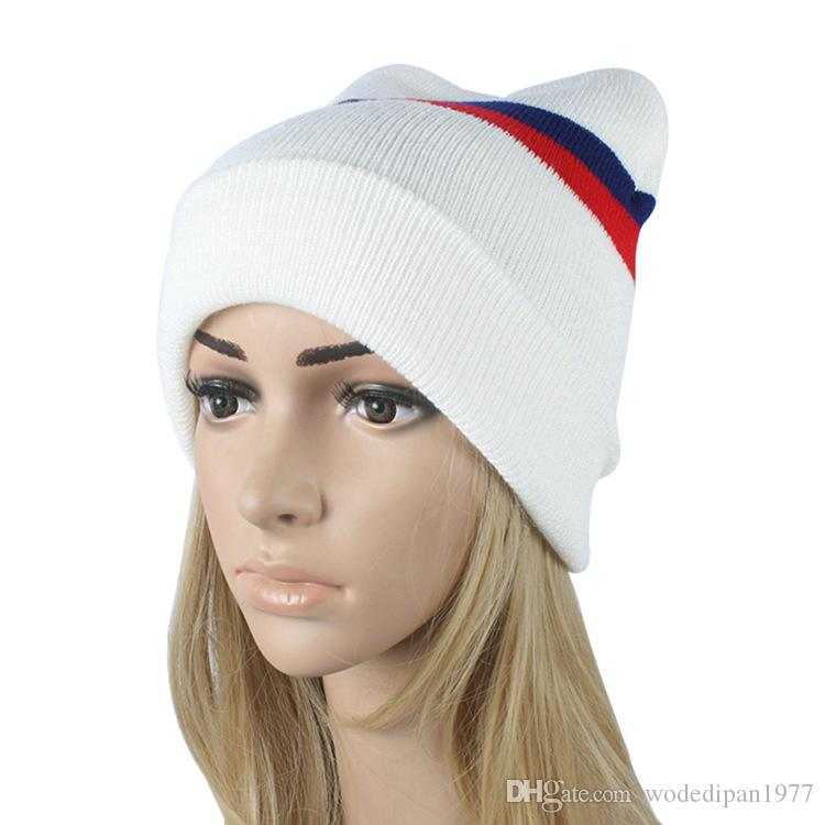 1d54a3047e4 2016 Fall Winter New Women s Fashion Striped Knitted Hat Hedging Cap ...