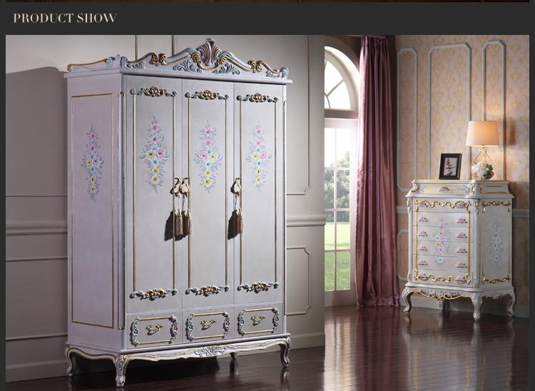 Antique classic furniture baroque bed -Italian bedroom furniture - luxury hand carved wardrobe - solid wood frame finished in cracking paint