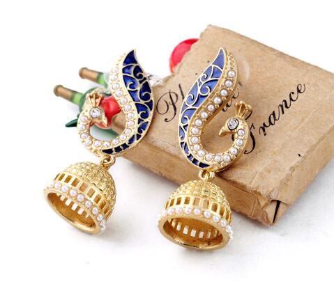 Arbeiten Sie lange Tropfen-Tierohrringe 18K Gold überzogene Einlegearbeit-bunte Kristallpfau-Ohrringe für Frauen ER0086-C, ed01093 um