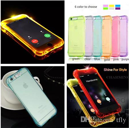 cheap for discount c4248 1e23c LED TPU Flash Light Up Case Remind Incoming Call lighting case for iPhone X  8 7 6 6S Plus Samsung S8 plus S7 S6 Edge Clear Transparent Skin