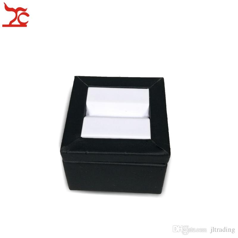 Quality Diamond Jewelry Display Holder Leatherette Gemstone Display Tower Trapezoid Wooden Diamond Gem Stand 6*6*5CM