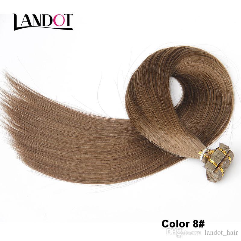 La mejor cinta 10A en extensiones de cabello 100% original Remy de la virgen cabello humano 200 g / brasileño indio indio malasio piel tramas PU pelo