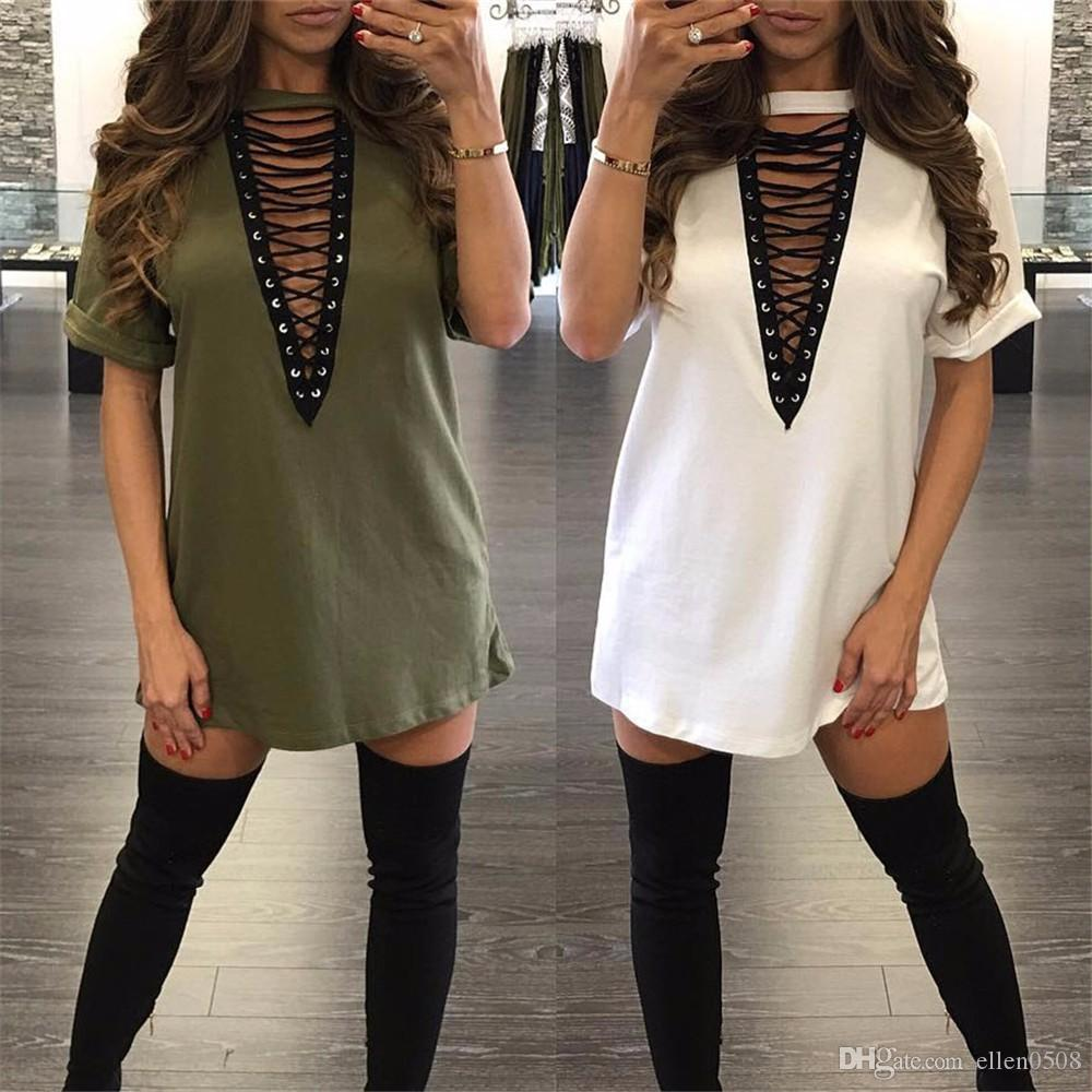 51d18288bd Summer Dress 2016 Hot Women Short Sleeve Lace Up Mini T Shirt Dress Casual  Solid Loose V Neck Cotton Club Party Tshirt Dress Green Junior Dresses Black  ...