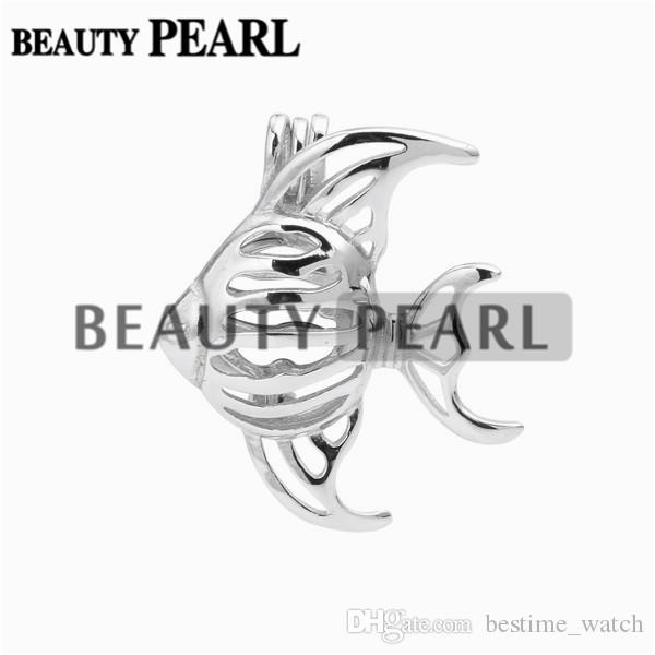 Bulk of Fish Cage Lockets Wish Pearl Gift 925 Sterling Silver Jewellery Goldfish Cage Pendant