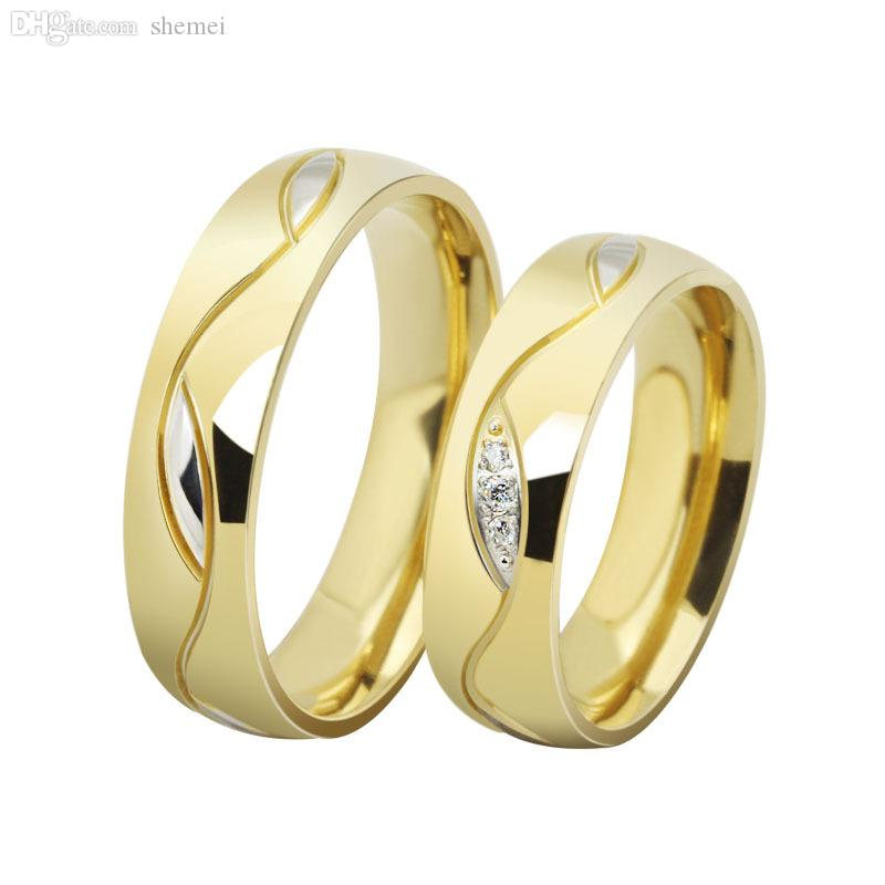 Wholesale Fashion Cz Diamond Couple Rings For Men Women 18k Gold Plated Stainless Steel Wedding Ring Pair Fine Jewelry Princess Cut Engagement