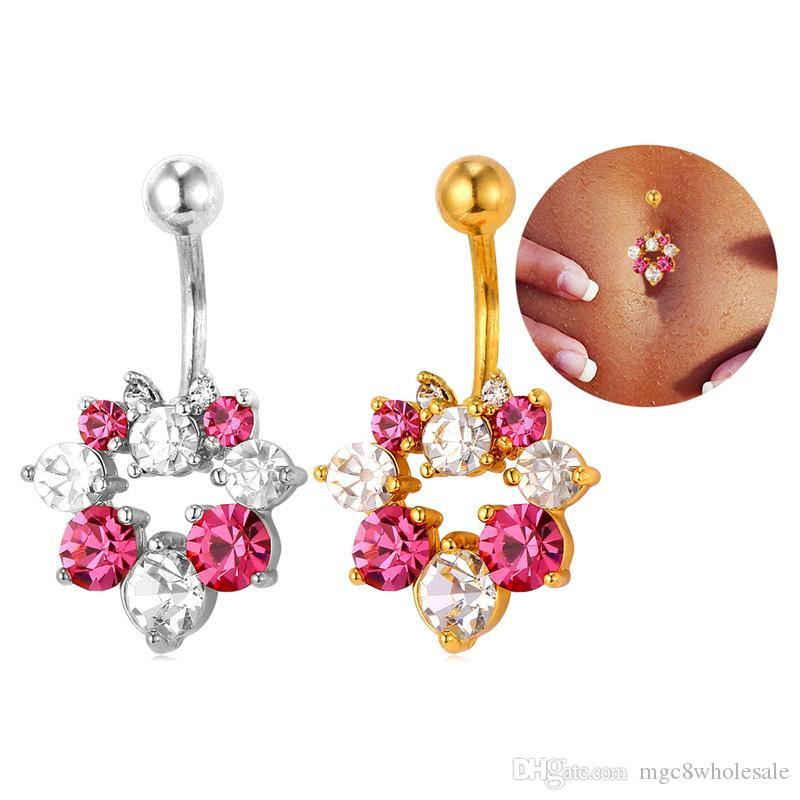 U7 Luxury Rhinestone Women Sexy Belly Button 18K Real Gold/Platinum Plated Navel Rings Body Piercing Jewelry Fashion Body Jewelry