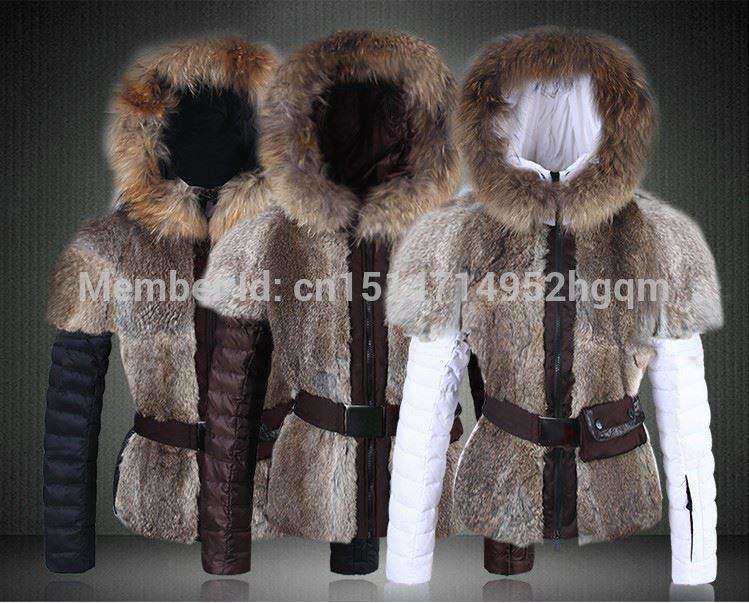 2017 New Arrival Lady Down Parkas Winter Down Jackets Coats With Belt top quality White Brown Black Fur Collars Womens Rabbit Fur Coat