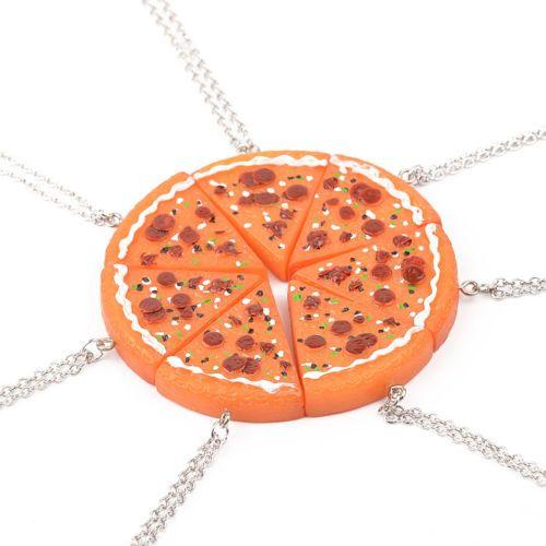 Más reciente Pizza Rebanada Colgante Amistad Collar Best Friends Familia Hermanas Regalo piojos de Pizza Comida chatarra Retro Funky Collar BFF Collares