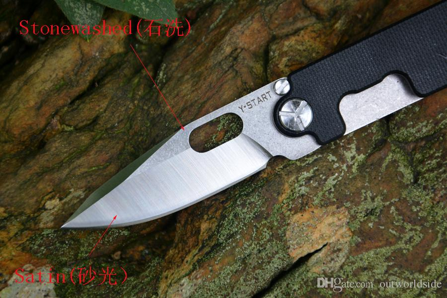 YSTART 5009 cuchillo de frijol Mini bolsillo EDC cuchillo herramienta abre rápido 440C cuchilla G10 + Titanium Hanlde regalo plegable llavero cuchillo
