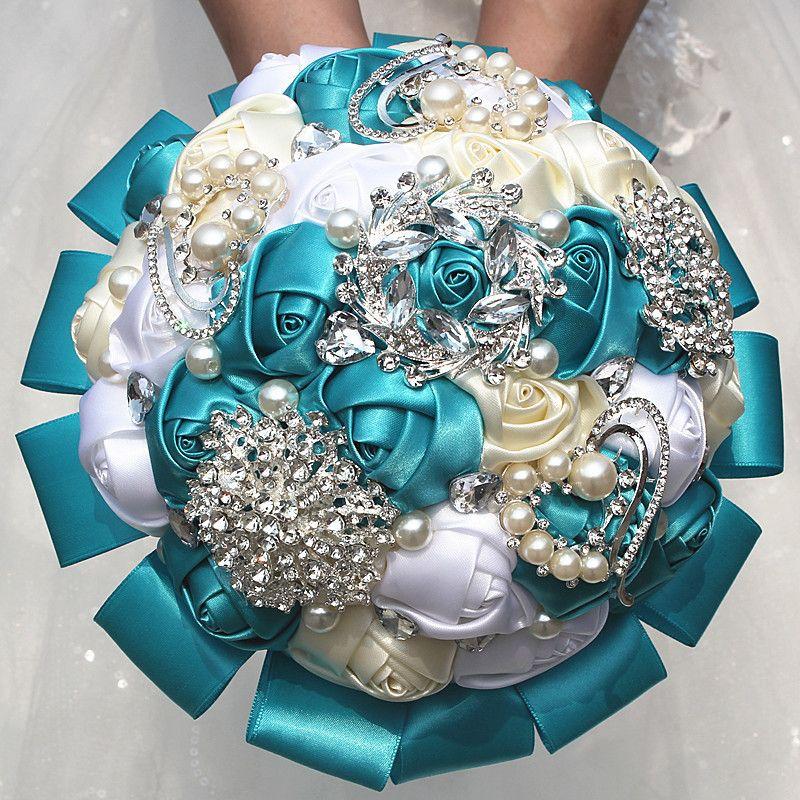 Silk Ribbon Ivory White Lake Blue Rose Flower Wedding Bouquet ...