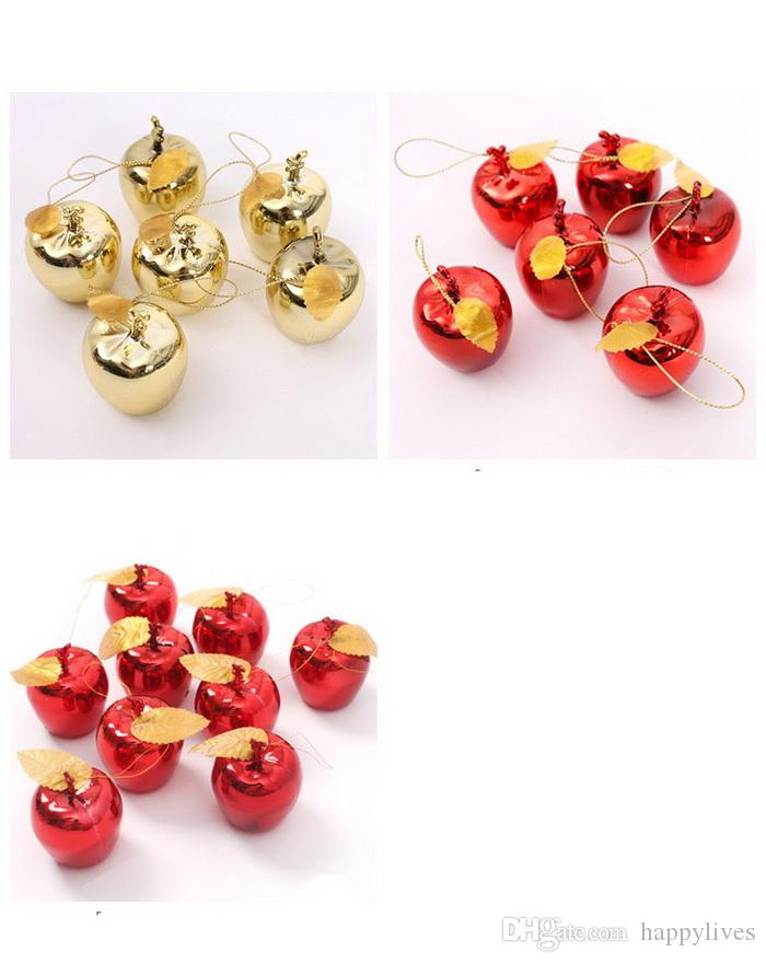 Christmas Decoration Christmas Tree Xmas Apple Decorations Baubles Party Wedding Ornament 5cm Solid Gold Red Christmas Pendant