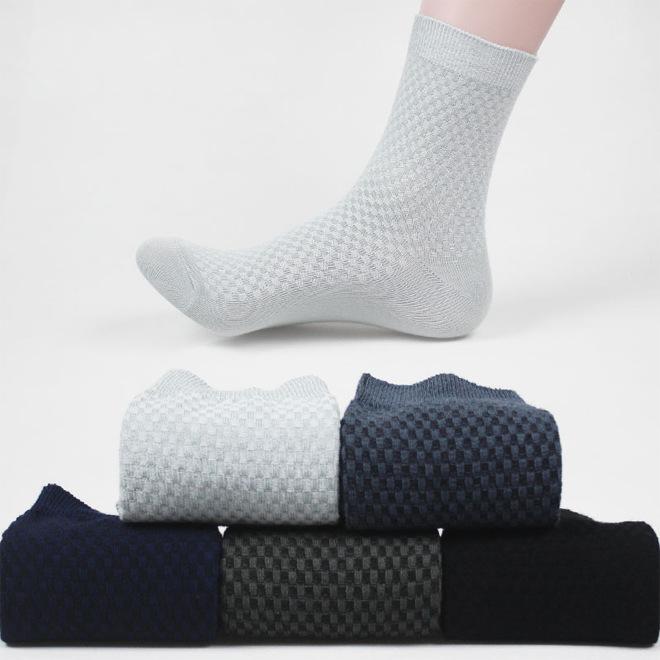 ef744a99f91e The New Bamboo Fiber Socks Classics Socks Male Floral Square Lattice ...