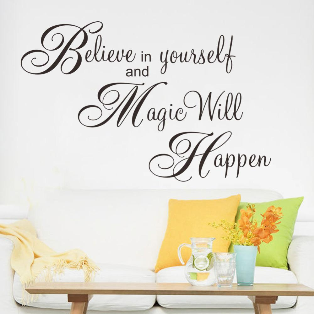 Believe Magic Happen Home Decor Creative Quote Wall Decal Decorative  Adesivo De Parede Removable Vinyl Wall Sticker Wall Decals Flowers Wall  Decals For ... Part 75