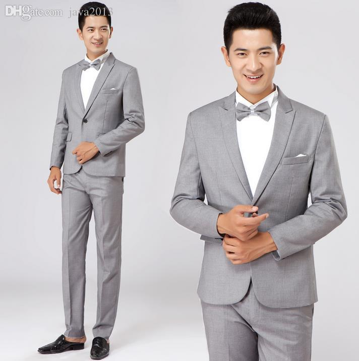 2018 Wholesale Grey Formal Dress Male Suit Set Men Suit Latest Coat