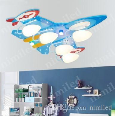 NIMI752 1/3/4 / 5-Lichter Kinderzimmer Flugzeug Deckenleuchte Schlafzimmer Beleuchtung LED Junge Schlafzimmer Ideen Wandleuchten MDF Platte + Glas Lampenschirm