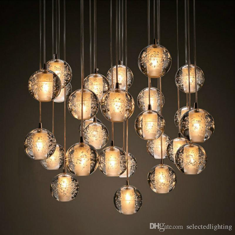 Modern Bubble Crystal Chandeliers Lighting G4 Led Bulb Light Meteor ...