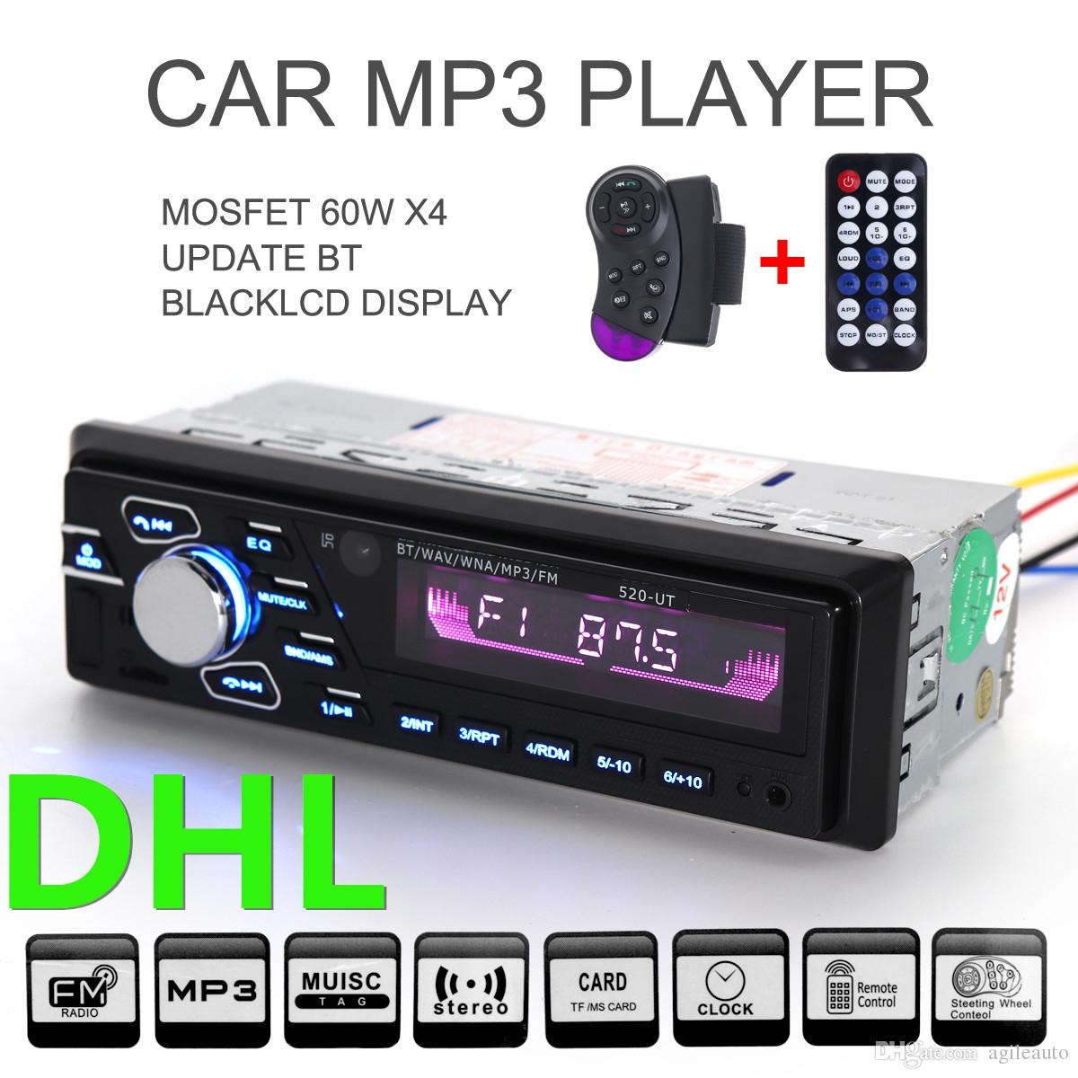 DHL Free Car Bluetooth Hand-free Audio Stereo MP3 Player FM Radios Support Hands Free Phone Call USB SD MMC with Remote Control 12V CAU_020