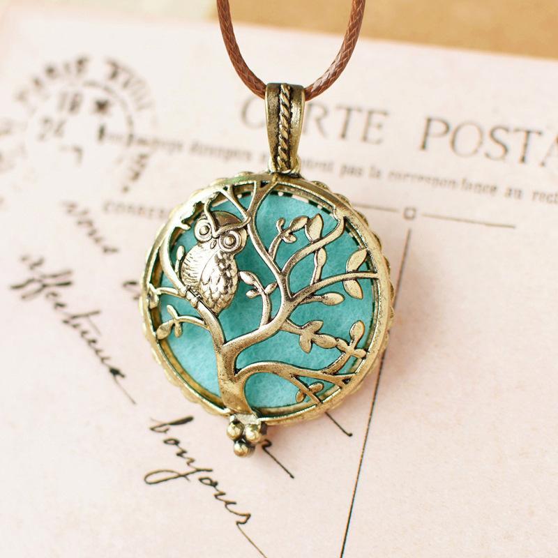 Collana del pendente dell'albero dell'albero di fragranza del profumo di Locket del profumo della collana di Aromatherapy di DIY il regalo dei monili della collana del diffusore delle donne