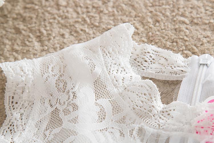 Weißkindkindspitzeröcke des Prinzessinkleides des Babys mit Strassgurt scherzt Mädchenhochzeitskleid-Blumenmädchenkleider