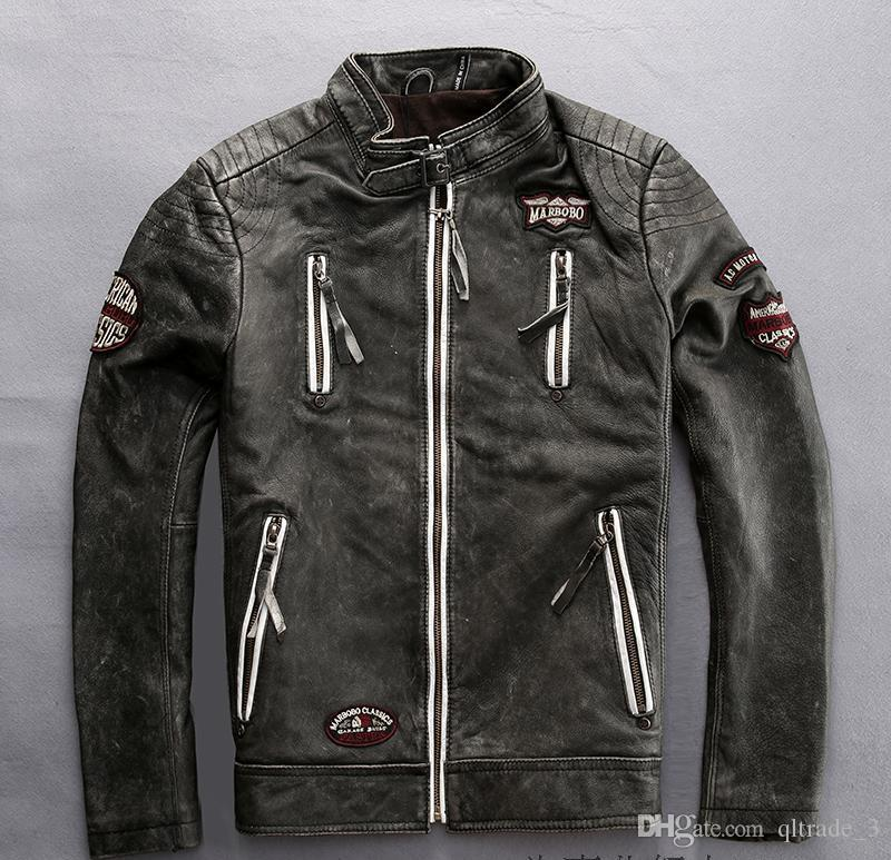 Indian head embroidery Marbobo classic genuine leather jackets stand collar motorcycle jackets
