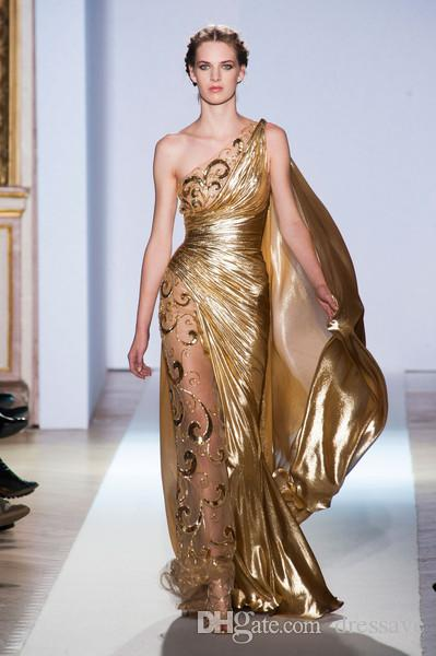 Sexy One Shoulder Gold Pageant Prom Gowns Zuhair Murad Haute Couture Appliques Shiny Long Evening Dresses