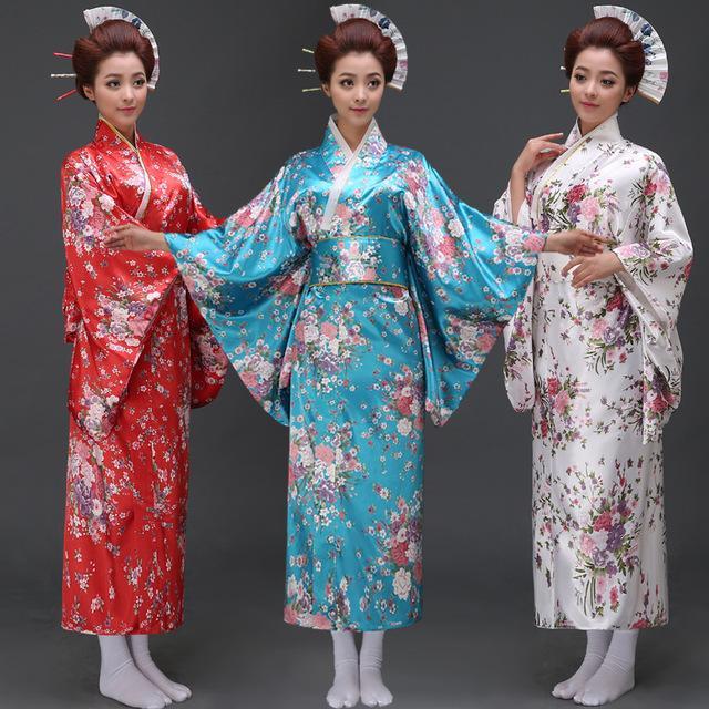 2017 Wholesale Stage Costume Woman Samurai Portrait Female Japanese Kimono Floral Dress Yukata Kids