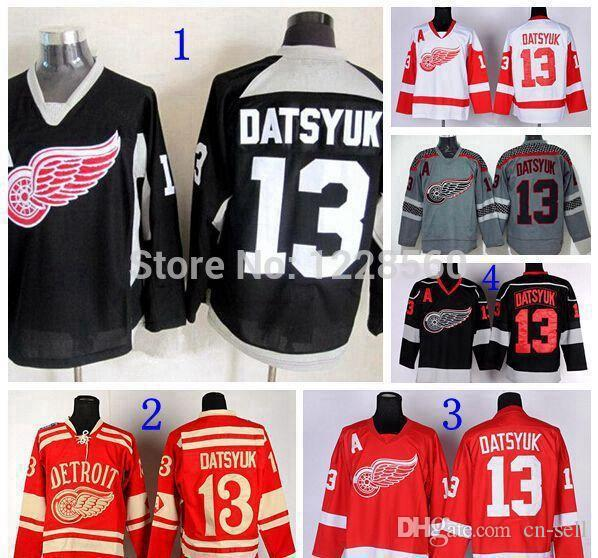 2019 2015 Newest Detroit Red Wings Winter Classic Jerseys  13 Pavel Datsyuk  Jersey Red Black White Gray Ice Hockey Jerseys From Cn Sell b3928bdb288