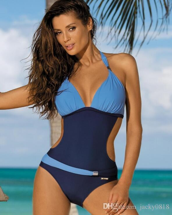 295af0743c384 2017 Women Two Color Patchwork Deep V Neck Halter Backless Swimwear Bathing  Suit Brazilian Monokini Swimsuits Bodysuit S M L UK 2019 From Jacky0818