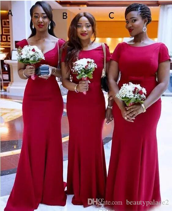 2018 Newest Red Mermaid Bridesmaid Dresses Simple Plain Cap Sleeves Scoop Neck Arabic South African Maid of Honor Gowns
