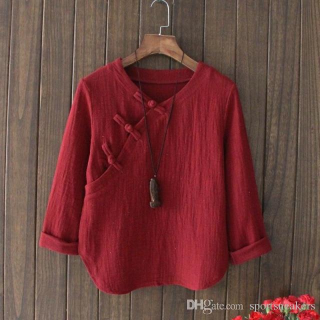 Moda de niña de bosque en China Lonas retro literarias con botones de placa camisa de algodón de manga larga camisas sueltas para mujer Blusas