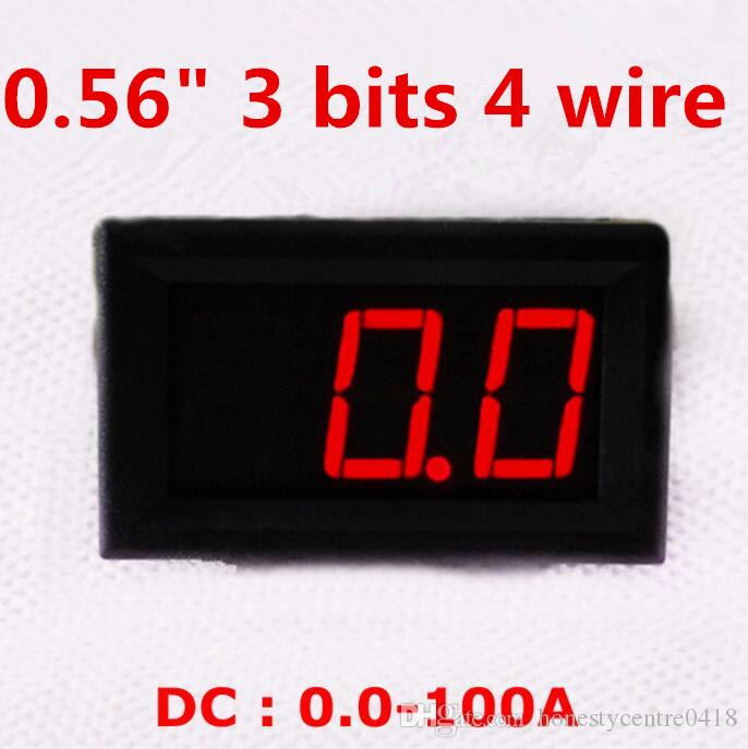 "By dhl/fedex 0.56 "" 3 bits 4 wire DC0.0-100A Red LED display Ammeter Panel Digital Current Amp power Meter"