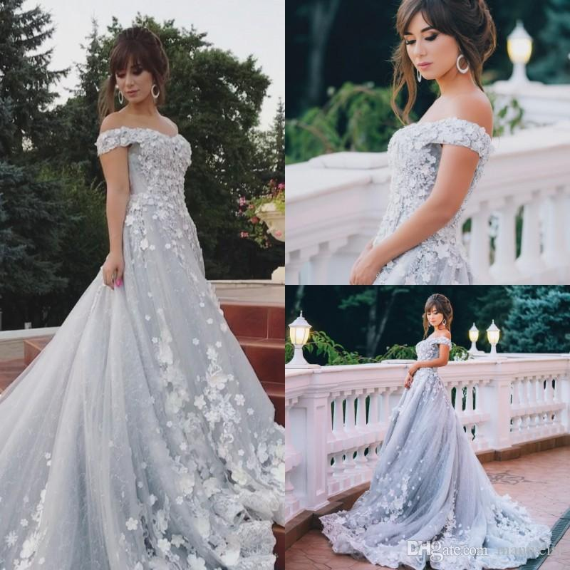 Discount Elegant Silver Off The Shoulder Wedding Dresses 3D Floral ...