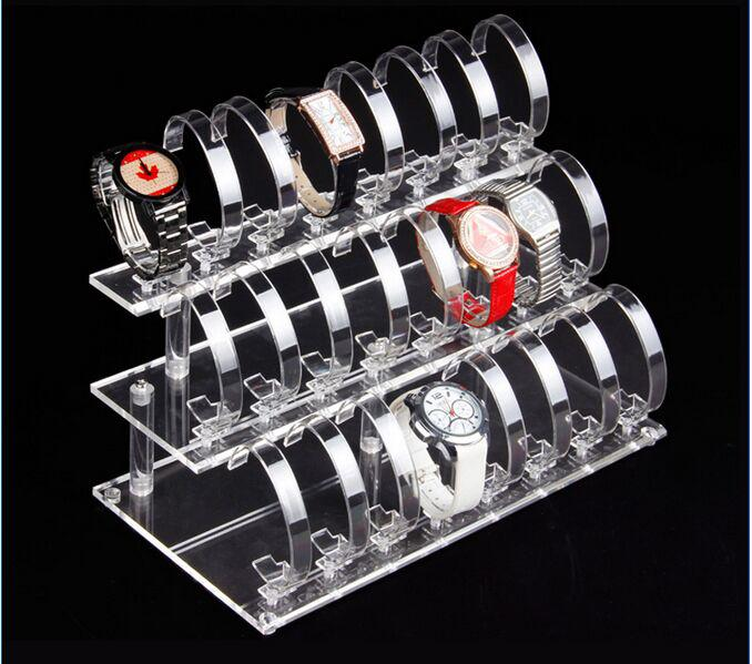 Hot selling 2016 Fashion new style 3-layer 24-bit Transparent Acrylic Watch Display Rack Holder Show Stand Jewelry Display