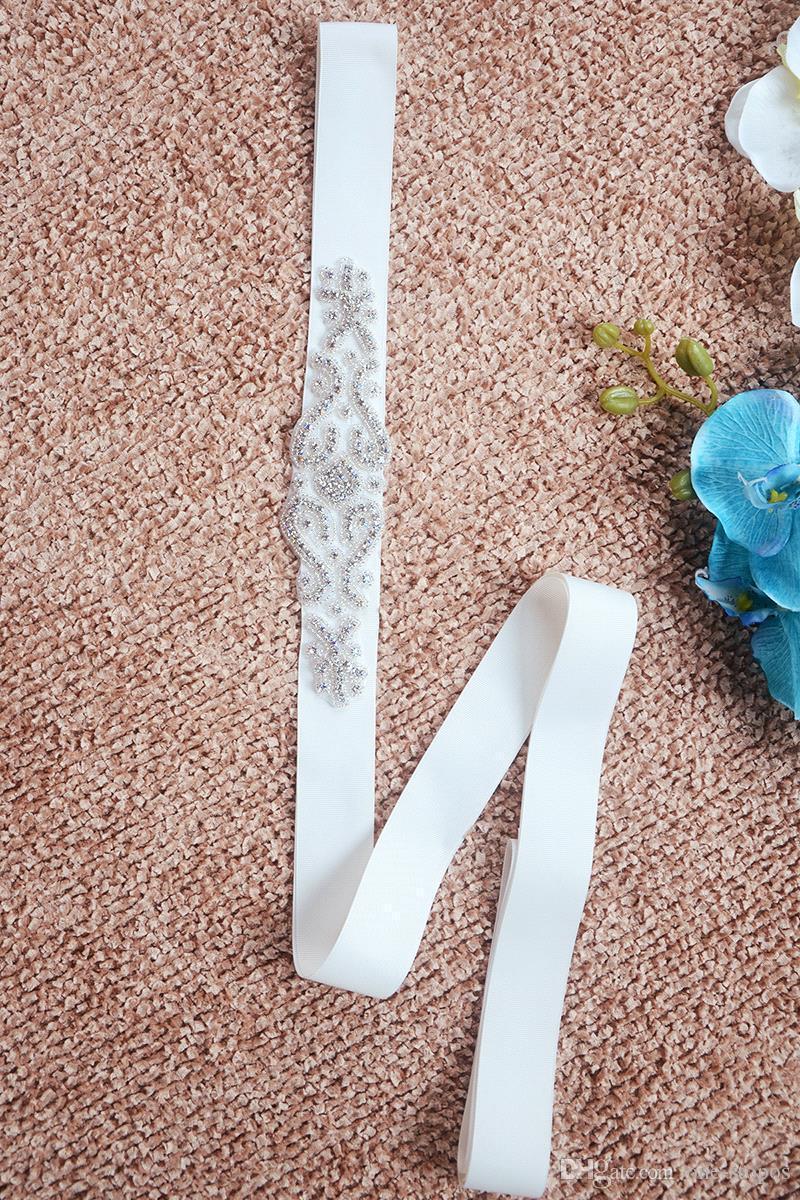 2017 nuovo strass cristallo in rilievo abito da sposa sauche immagini reali white beige cintura nuziale a buon mercato a buon mercato cinghia