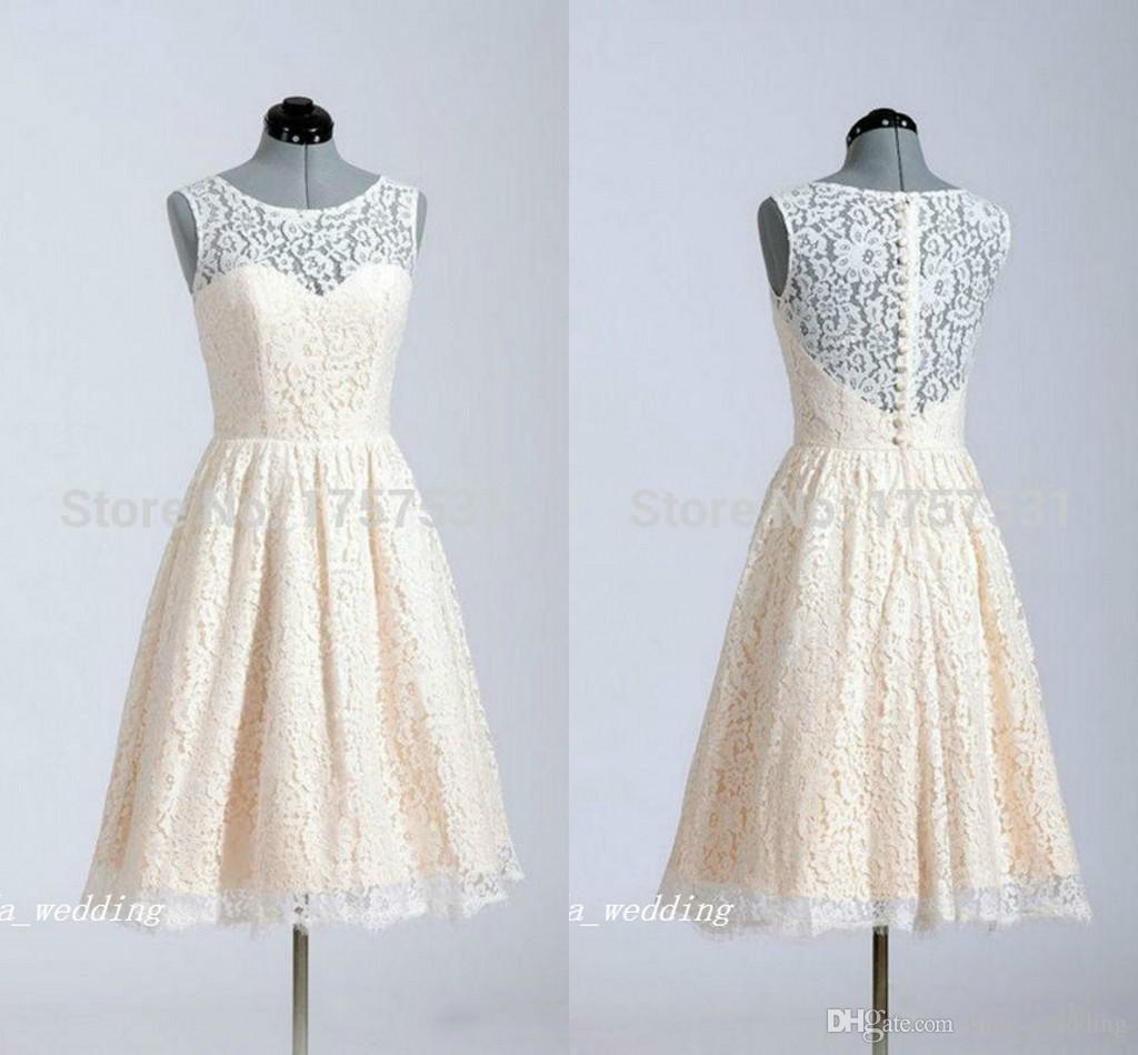 6c4180d7b57 Real Photo Lace Bridesmaid Dress Vintage Cream White A Line Maid Of Honor  Dress Homecoming Dress Pretty Graduation Dresses Sweet 16 Lace Bridesmaid  Dresses ...