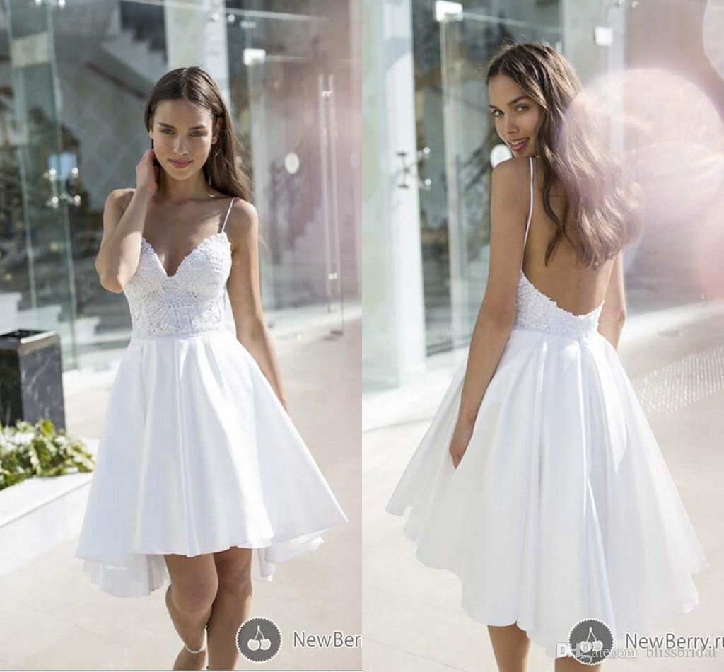 565d51b7b174 Discount Cheap Spaghetti Straps Backless Short Beach Wedding Dresses  Applqieus Satin A Line Puffy Bridal Dresses 2016 Mini Wedding Gowns Bridal  Dresses ...