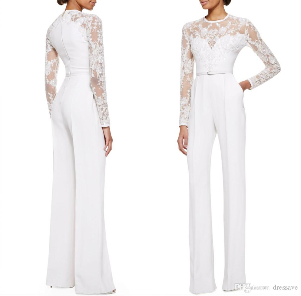 2018 White Mother Of The Bride Pant Suits Jumpsuit With Long Sleeves Lace Embellished Women Formal Evening Wear Custom Made