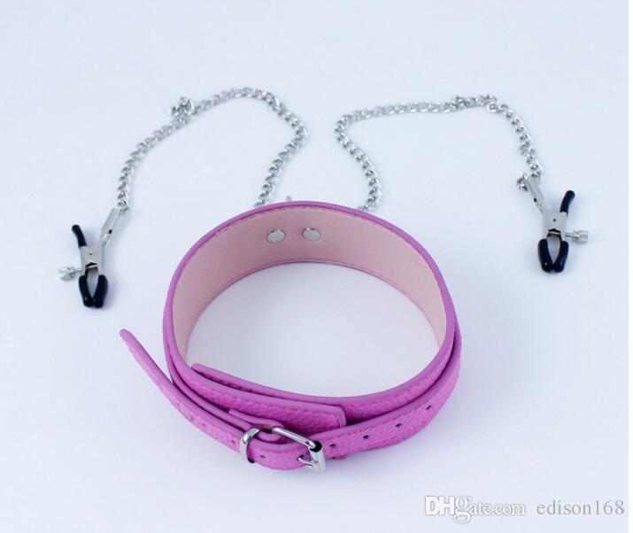 New Pink Leather Neck Ring Collar Restraint with Nipple Clips Clamps Stretching Stimulator Breast Bondage Locking BDSM Sex Games Toy A156