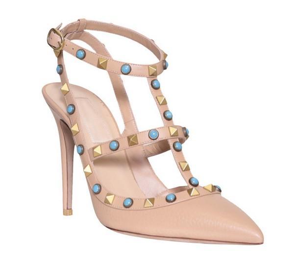 su misura * alta qualità! u563 34/40 sandali con tacco in vera pelle gioiello sandali con tacco v décolleté 7.5 / 10cm scarpe gioiello