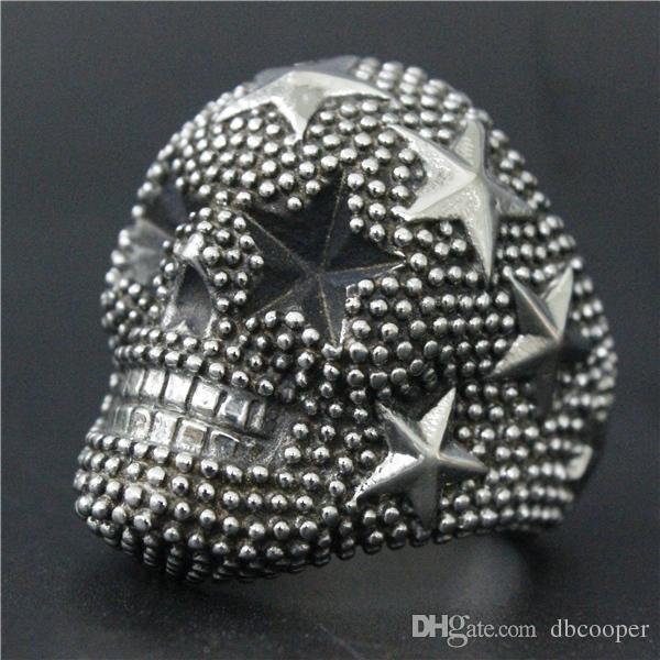 316L stainless steel mens biker skull Ring Cool Big Heavy Rock&Roll Stars Skull Ring