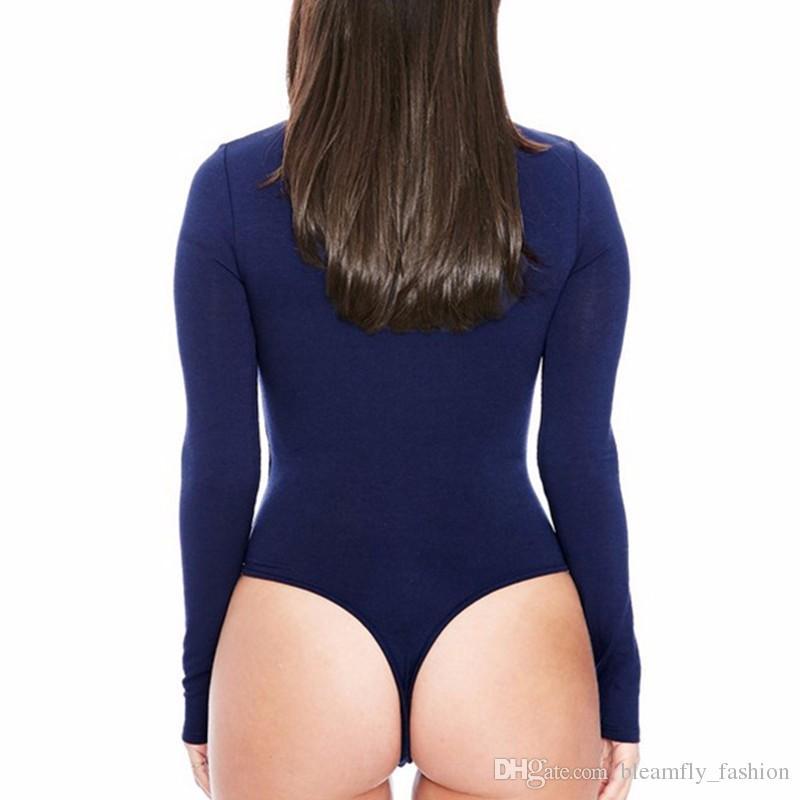 2017 Kadınlar Seksi Tulumlar Bodysuits Katı uzun Kollu Bodycon Kısa Streç rahat tulum one piece Tulum Elastik tulum